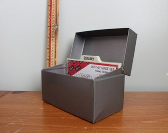Gray Chein Recipe or File Box and Monthly Guide Set, Made in the USA, Standard Size, 3.5x5.25 on the Front and 3x5.25 on the Top, Metal