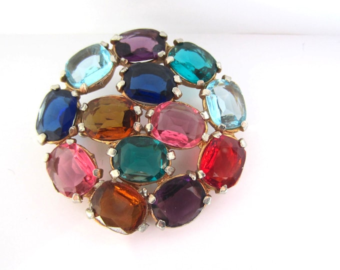 CZECH poured glass multi-color (pinks, shades of blues, purples) pin ~lovely, vintage costume jewelry