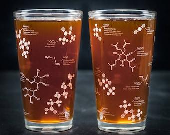 Beer Chemistry Molecule Pint Glass Set | But First Beer, boyfriend gift girlfriend gift, geek gift, beer nerd, science gift man gift brewing