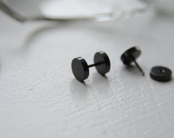 Medium 5mm Black Stainless steel round screw barbell men's stud earrings. Available in 3 sizes (8, 5 or 3mm)
