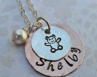New Mommy New Baby Necklace - Name Birthstone Teddy Bear - Sterling Silver and Copper Personalized Necklace - Hand-Stamped Custom Name- S190