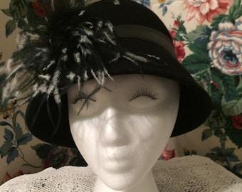 Vintage Black Cloche Wool Hat