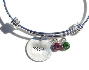 Custom Sterling Silver Bangle; Mother's Bangle; Personalized Bangle with Birthstones; Mother's Day Personalized; Grandmother Bracelet