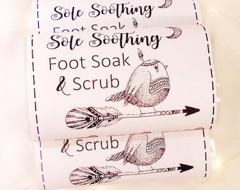 Foot Soak & Scrub - Vegan - Gift for Women - Foot Treatment - Peppermint - Lemongrass - Foot Spa