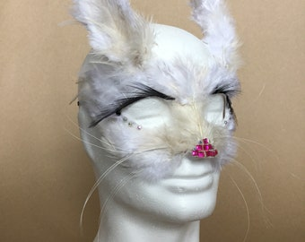 White Rabbit Hand Feathered Mask