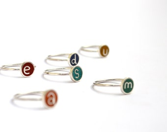 Initial Ring, Sterling Silver,  Personalized, Stacking Ring, Initial