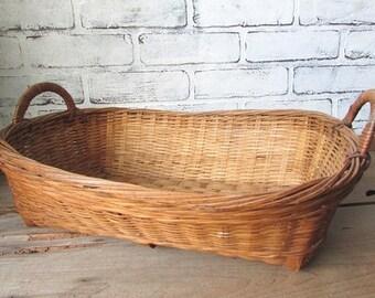 Basket Vintage Oblong Flower Basket Storage Woven Basket With Handles