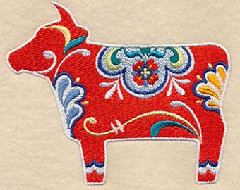 Classic Dala Cow Embroidered Kitchen Towel