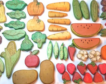 Play Food of the Month, Monthly Subscription Service for Wooden Playfood, Fruit and Vegetable Monthly Gift, Natural Waldorf Kitchen Play