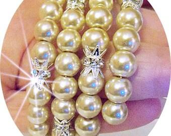 Beige Wrap Bracelet, Bridal Bracelet, Pearl and Rhinestone, Wedding Jewelry, Bridal Jewelry, Memory Wire Bracelet, Pearl Bracelet, Cuff