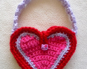 Girls Pink Purple and Red Heart Purse Crochet with Kitty Button