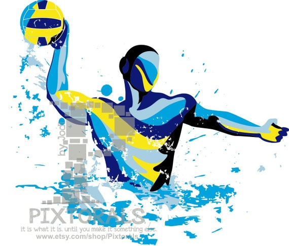 water polo player vector set of eps jpeg png editable rh etsy com Water Polo Cartoon Art water polo images clip art