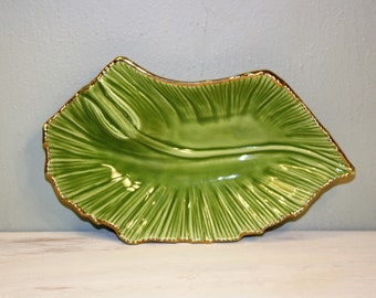 Vintage USA pottery green leaf with gold trim