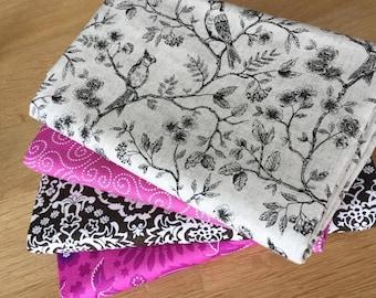 BOTANICA BIRDS in Grey & Pink Fat Quarter Bundle by Makower