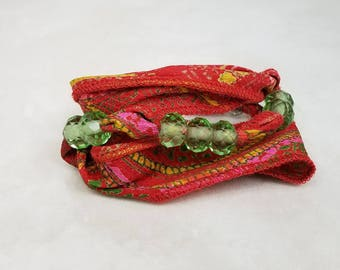 Sari Silk Wrap Bracelet, Red Green Silk Crystal Wrap Bracelet, Multi Wrap Boho Bracelet, Silk Necklace Crystal Choker, Gift for Her