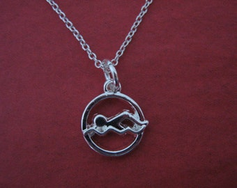 Swimming Necklace Swimmer Charm Swim Coach Gift