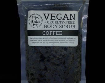 Coffee Body Scrub | Vegan Body Polish | Cruelty Free Scrub | Vegan Beauty Product | Minimalist Gift Idea for Vegan | Zero Waste Beauty