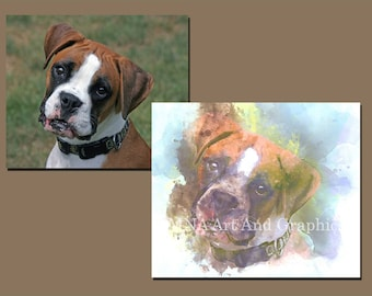 Your pet in watercolor - watercolor digital prints animals - dogs - cats - parrots - Your dog image in watercolor - DIGITAL - YOU PRINT
