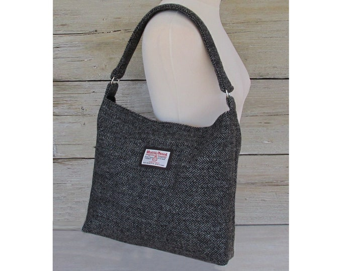 Harris Tweed Large Black & Grey Herringbone with Sea Green Accent Slouchy Shoulder Bag