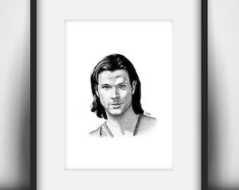 Jared Padalecki Mini Art Print (A5 / 5.8 x 8.3 in)