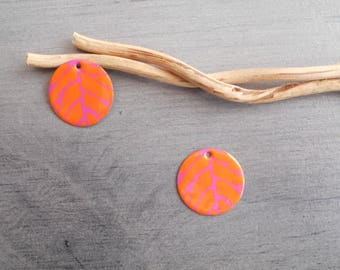 X 2 orange and hot pink sequins charms
