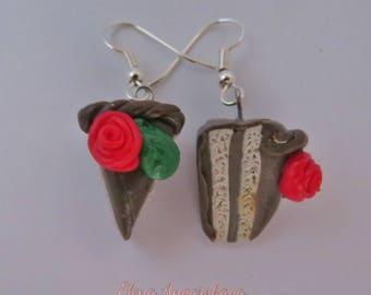 Cake Earrings, Polymer Clay Earrings, Dangle, Miniature Food Jewelry, Handmade