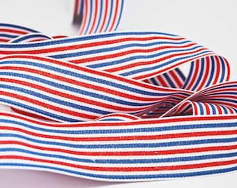 Striped Grosgrain Ribbon -- 1.5 inches -- Patriotic Stripe