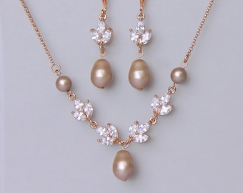Bridal Jewelry Set, Rose Gold Jewelry set, Champagne Pearl Bridal Set,  HAYLEY RGAP