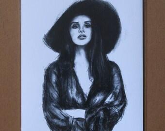 Lana Del Rey Charcoal Drawing, Lana Del Rey Wall Decor, Lana Del Rey Print, Lana Del Rey Wall Art