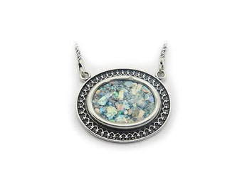 925 Sterling Silver Necklace, Ancient Roman Glass Pendant, Original Gift, Roman Glass Jewelry