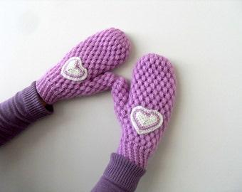 Winter Accessories, Mittens,Crochet Mittens,Winter Fashion, Lilac Gloves, Handwarmer, Crochet Gloves, Heart Gloves, Valentines Day Gift
