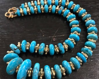 Turquoise beads/ tribal old silver