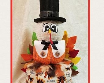 ON SALE 15% OFF Turkey Pumpkin Stacker, Thanksgiving Centerpiece, Turkey Centerpiece, Turkey Decor, Thanksgiving Decor, Pumpkin Stacker, Fal