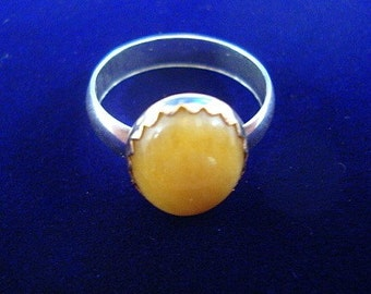 Yellow Jade ring - reclaimed/recycled .925 sterling silver and yellow 14k gold filled  size 6.25, UK M - Ready to mail/ship  SALE