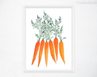 Carrot Art - Watercolor Print,  Vegetable Painting - 8x11 Food Art / Kitchen Wall Decor