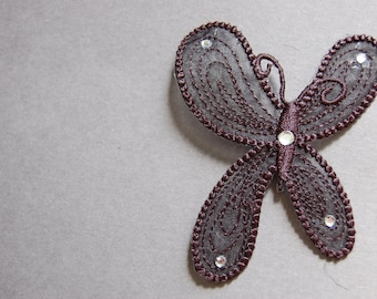 2pc - Black Butterfly Applique
