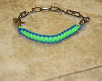 Royal blue and Neon Green Goat Show Collar