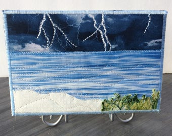 Hostess Gift - Coast Thunderstorm - Fabric Art - Beach Quilted Postcard - Landscape Postcard - Fabric Postcard - Landscape Art - Nature Art