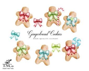 Gingerbread men clip art - Festive decor - Holiday decorations - Gingerbread Decoration - Planner Clip art - Watercolor Gingerbreadmen