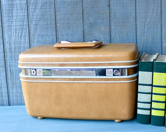 Vintage Samsonite Harvest Gold Train Case, Midcentury Yellow Train Case With Mirror and Tray,