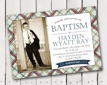 Boy Baptism Invitation 5 designs to pick from photo card printable