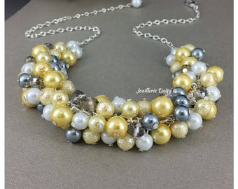 Pearl Cluster Jewelry Yellow Necklace Gray Necklace Bridesmaid Jewelry Bridesmaid Gift Wedding Jewelry for Maid of Honor Gift for Her