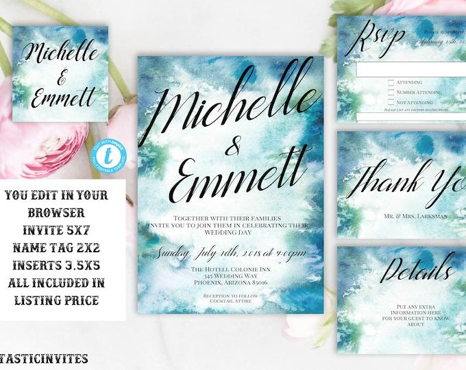 Watercolor Wedding Invitation Template, Watercolor Invitation Template, Editable, Printable, You Edit, Blue, Green, Watercolor, Minimal, DIY