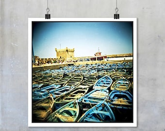 Fishing Boats Essaouira Morocco traditional blue green fishing boats Morocco home decor Fine Art Photo Print big print poster square holga