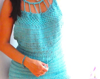 Strappy blue knitted top - Sexy halter knit top- Women aqua blue knitted tank- Festival top- knitted tunic top-open back top-Fashion top