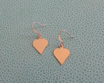 Elegant dainty glossy rose gold plated Heart hook earrings