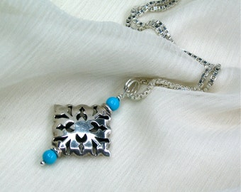 Sleeping Beauty Turquoise / Sterling Silver, Genuine Natural Gemstone, Wire-Wrapped Pendant