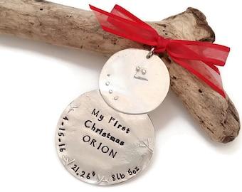 First Christmas Ornament - Baby Christmas Ornament - Personalized Christmas Ornament - Family Ornament - Snowman Custom Ornament