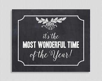 It's The Most Wonderful Time of the Year Christmas Chalkboard Sign, Party Signage, 8x10 inch, INSTANT PRINTABLE