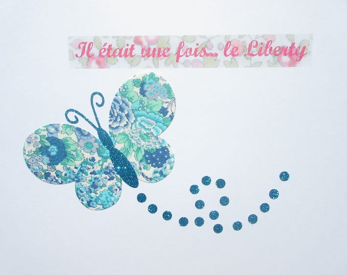 Applied fusible Butterfly liberty Elysean blue liberty fabric and glitter flex patch Iron Butterfly patterns collection